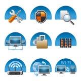 Sistema del icono de la red de ordenadores Fotos de archivo