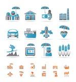 Diversa clase de iconos del seguro y del riesgo Imagenes de archivo