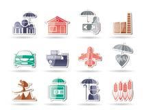 Diversa clase de iconos del seguro y del riesgo Fotografía de archivo libre de regalías