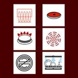 Diversa cocina, avellanador, vector de los iconos de la estufa Imagen de archivo