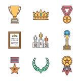 Diversa colección coloreada de los iconos de los símbolos de los premios del esquema Fotografía de archivo libre de regalías