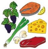 Diversa colección de la comida Imagen de archivo libre de regalías