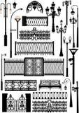 Diversa colección de las cercas y de las lámparas de calle Fotografía de archivo