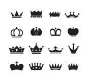 Diversa colección de las siluetas de las coronas Imagen de archivo libre de regalías
