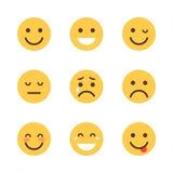 Diversa colección del icono de la emoción de la historieta de la cara de la gente determinada amarilla de Emoji Foto de archivo libre de regalías
