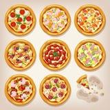 Diversa colección del vector de las pizzas Imagenes de archivo