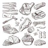 Diversa comida de la carne Accesorios del cerdo, del tocino y de la cocina Imagen dibujada mano del vector del cuchillo y del hac stock de ilustración
