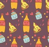 Diversa comida en fondo del estilo del kawaii ilustración del vector