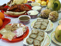 Diversa comida para la cultura china del Año Nuevo Fotografía de archivo libre de regalías