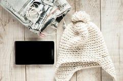 Diversa de los objetos persona joven moderna fot Foto de archivo