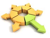 Diversa flecha verde del amarillo otros grupo redondo ilustración del vector