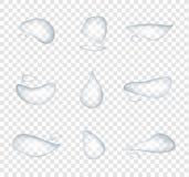 Diversa forma del vector realista de los descensos del agua aislado en el fondo transparente, superficie de cristal de la condens ilustración del vector