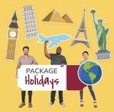 Diversa gente felice che tiene l'icona di vacanze 'formula tutto compreso' royalty illustrazione gratis