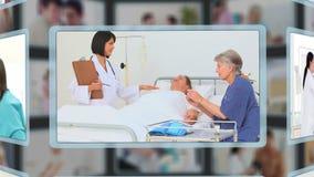 Diversa gente que tiene problemas médicos almacen de metraje de vídeo