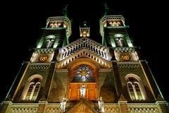 Diversa iluminación de la noche del milenio de la catedral de Timisoara fotos de archivo