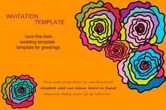 Diversa invitación de las rosas del color Foto de archivo libre de regalías