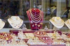 Diversa joyería del oro y de la plata Imagen de archivo