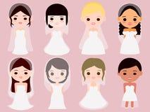 Diversa novia internacional de ocho historietas stock de ilustración
