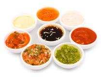 Diversa paleta de las salsas Fotos de archivo
