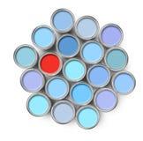 Diversa poder de estaño de la pintura del color Imágenes de archivo libres de regalías