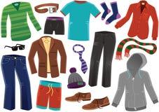 Diversa ropa masculina Imágenes de archivo libres de regalías