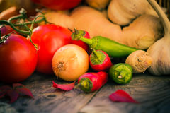 Diversa tabla de cocina de las verduras de las pequeñas pimientas Fotografía de archivo