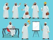Diversas actitudes del hombre de negocios árabe Diseño de carácter en estilo plano Ejemplos del vector fijados ilustración del vector