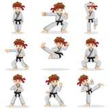 Diversas actitudes del niño del karate Imágenes de archivo libres de regalías
