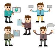 Diversas actitudes - oficina y hombres de negocios del personaje de dibujos animados del vector del concepto del ejemplo Fotos de archivo libres de regalías