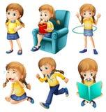 Diversas actividades de una chica joven libre illustration