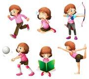 Diversas actividades de una pequeña señora ilustración del vector