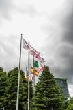 Diversas banderas en un cielo tempestuoso Fotos de archivo libres de regalías