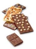Diversas barras de chocolate fotos de archivo