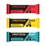 Diversas barras de la proteína, suplemento del colágeno del deporte en estilo plano stock de ilustración