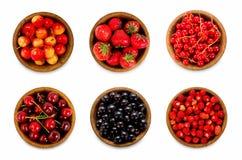 Diversas bayas determinadas Fresas, pasa, cereza Imagen de archivo