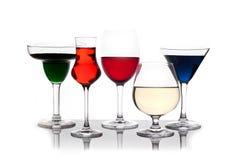 Diversas bebidas coloreadas Fotos de archivo libres de regalías
