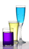 Diversas bebidas coloreadas del partido Imágenes de archivo libres de regalías