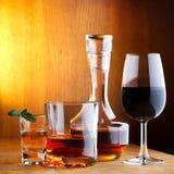 Diversas bebidas del alcohol Imágenes de archivo libres de regalías