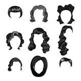 Diversas caras de mujeres con los peinados stock de ilustración