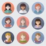Diversas caras femeninas en iconos del círculo Fotografía de archivo libre de regalías