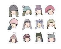 Diversas caras Gente en sombreros del invierno Objetos del dibujo de la mano en el fondo blanco libre illustration