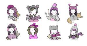 Diversas caras Muchachas en sombreros del invierno Animales divertidos Objetos aislados dibujo de la mano en el fondo blanco Vect libre illustration