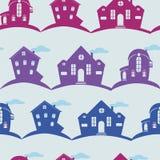 Diversas casas de la textura inconsútil en fondo del color Fotos de archivo