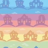 Diversas casas de la textura inconsútil en fondo del color Foto de archivo libre de regalías
