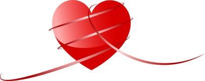 Diversas cintas con un corazón rojo Imagen de archivo