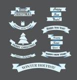 Diversas cintas retras de la Navidad del estilo fijadas Foto de archivo libre de regalías