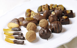 Diversas clases de chocolate de lujo de la confitería Imagen de archivo libre de regalías