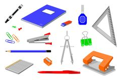 Diversas clases de efectos de escritorio de la oficina foto de archivo libre de regalías