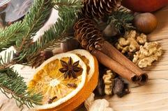 Diversas clases de especias, de tuercas y de naranjas secadas Foto de archivo libre de regalías