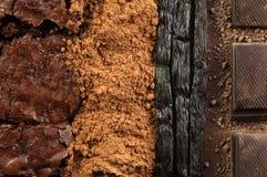 Diversas clases de habas del chocolate y de vainilla Foto de archivo libre de regalías